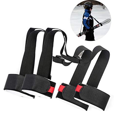 LAWOHO Shoulder Ski Carrier Straps Sling with Cushioned Holder Adjustable Ski Shoulder Lash Handle Straps Snowboard Boot Carrier Strap
