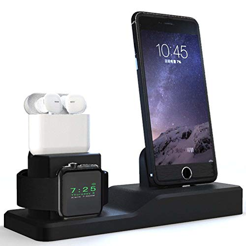 Darmoshark Apple Watch Stand, Charging Station for AirPods iPhone,Support for Apple Watch Series 4/3/2/1/ AirPods/iPhone X/8/8Plus/7/7 Plus /6S /6S Plus/iPad - Support Nightstand Mode