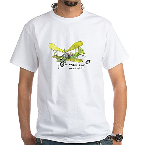 CafePress Who's Your Mechanic? 100% Cotton T-Shirt, White (Great Tailwheel Planes)