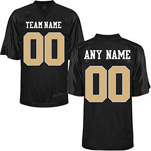 Custom Football Replica Team Jersey (Small, Black - Vegas Gold Numbers)