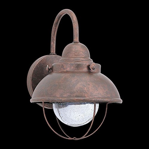 Sea Gull Lighting 8870-44 Outdoor One-Light Wall Lantern, Weathered Copper Finish