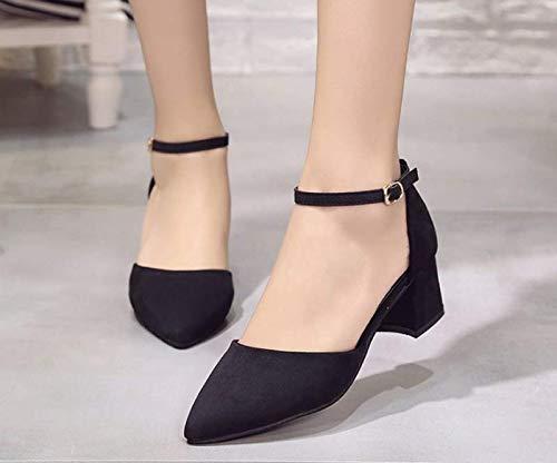 tacco camoscio KOKQSX black sexy cm alto capo 37 fibbia detto sola sandali 5 zwwISq6