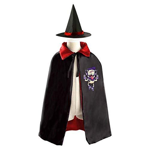 69PF-1 Halloween Cape Matching Witch Hat Yellow Monster Wizard Cloak Masquerade Cosplay Custume Robe Kids/Boy/Girl Gift Red