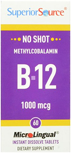 Superior Source aucun coup Methylcobalamin B12 multivitamines, 1000 mcg, 60 comte