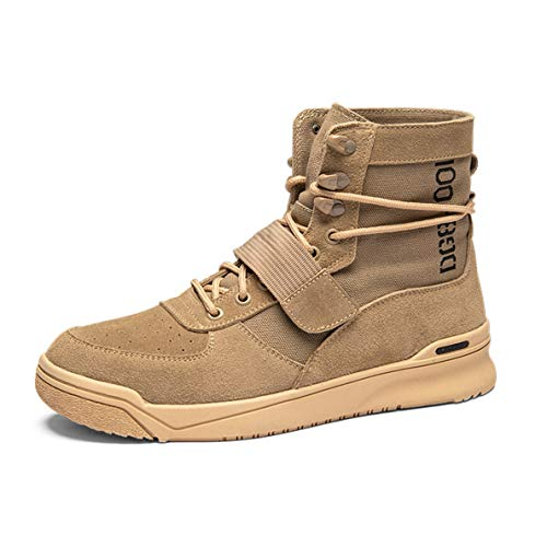 (GanQuan2018 Men's Work Boot High-top Fashion Casual Winter Khaki Brown Ankle Boots)