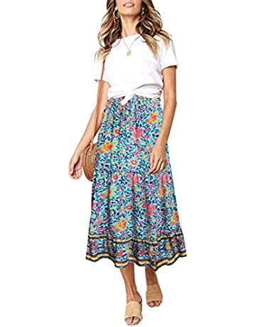 193afdb675 MEROKEETY Women's Boho Floral Print Elastic High Waist Pleated A Line Midi  Skirt with Pockets. Upcoming Deal