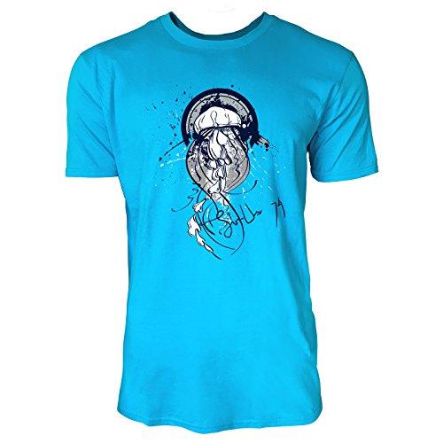 SINUS ART ® Qualle im Street Style Herren T-Shirts in Karibik blau Cooles Fun Shirt mit tollen Aufdruck