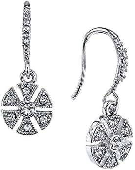 1928 Jewelry Downton Abbey Silver-Tone Crystal Art Deco Flower Vintage Earrings