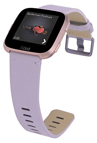 PEAK ZHANG Bands Compatible with Fitbit Versa, Premium Genuine Leather Replacement Wristband Smart Watch Strap Women(Small Sise,Lavender) ()