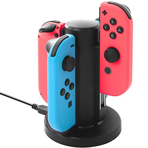 KINGEAR Switch Joy-Con Charging Dock 4 in 1 Switch Joy-Con Charger Dock Station with LED Indicators and Micro USB Cable