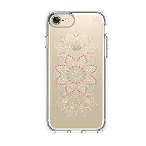 Speck Products Presidio Clear + Print Cell Phone Case for iPhone 7/6S/6 - Lace Mandala Pink/clear (Iphone 6 Speck Clear Case)