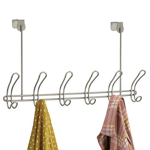 Ivory Coat Rack (mDesign Over-the-Door Rack 6-Hook Coat and Clothing Hanger - Satin)