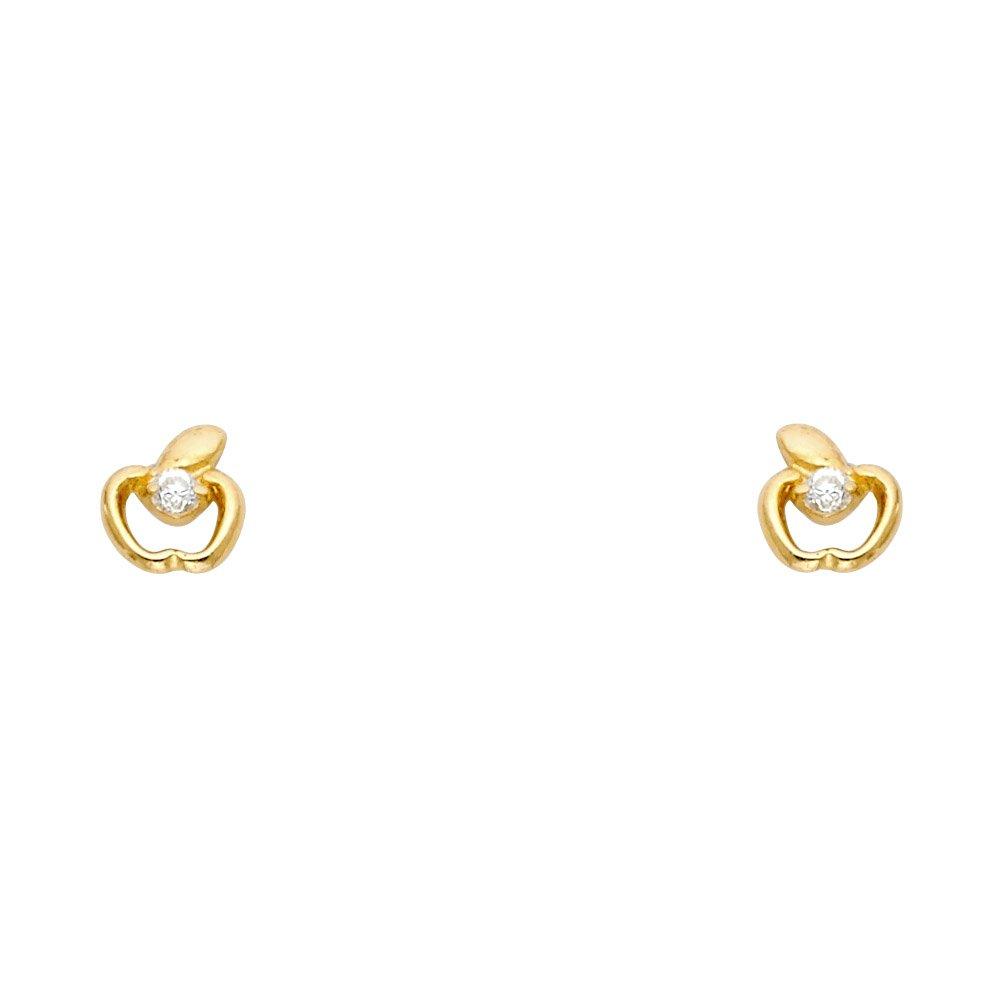 Wellingsale 14K Yellow Gold Polished Apple Stud Earrings With Screw Back