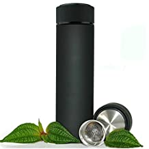 Stainless Steel Travel Mug - TEA INFUSER Bottle - Double Wall Insulated HOT COFFEE THERMOS - Cold FRUIT INFUSED Water Flask - Food Grade LEAK PROOF 17 Oz