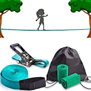Slackline kit for balance training 50' with heavy-duty industrial ratchet, tree protecting band and gear c