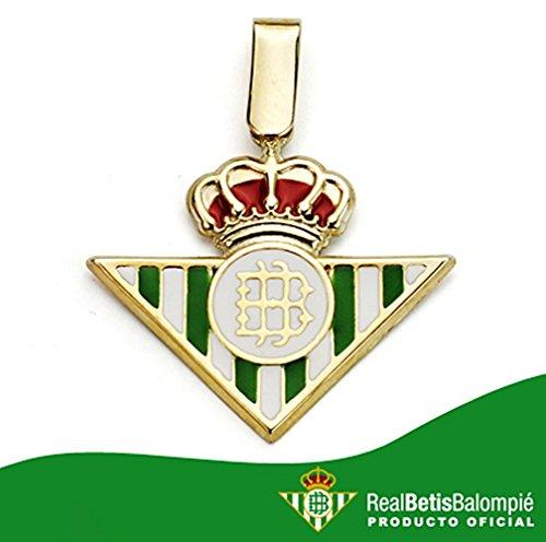 Pendentif Real Betis loi bouclier 18k 20mm d'or. émaille [AA7456] - Modèle: 50-012-LG