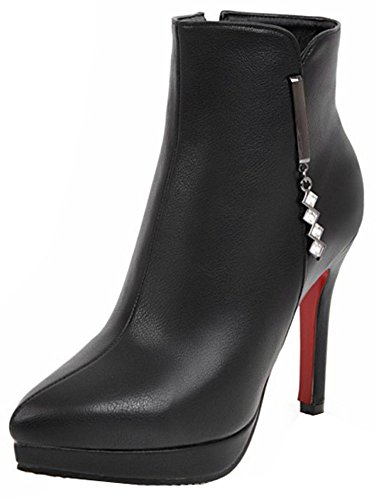 Toe Pointed Black High Stiletto Easemax Up Women's Side Ankle Heels Zip Trendy High Booties qpwEHtOf