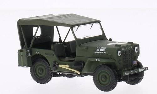 Jeep Willys CJ3B, US Armee mit Softtop, oliv, 1953, Modellauto, Fertigmodell, Triple 9 Collection 1:43