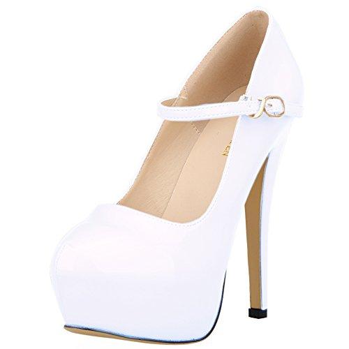 Pompe Stiletto Shoes Della Bianche Donne Dallo Mary Vestito Tacchi Celato Jane Loslandifen Piattaforma r1rF8Oqpw