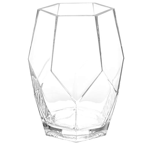 Glass Contemporary Vases - MyGift 8-Inch Geometric Clear Glass Flower Vase, Wedding Centerpiece Decor