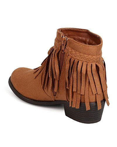 Alrisco Fe32 Mujeres Faux Suede Chunky Heel Fringe Botaie Tan