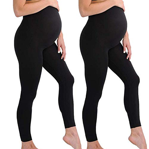 Touch Me Maternity Leggings Black Navy Grey Soft Solid Stretch Seamless Tights One Size Fits All Active Wear Yoga Gym Clothes (Maternity - One Size Fits All, 2 Pack of Black Legging)