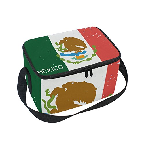 Distressed Mexico Flag Insulated Lunch Box Cooler Bag Reusable Tote Picnic Bags for Travel, Camping, Hiking and RVing
