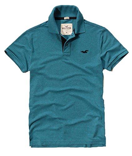 Hollister Men's Polo Shirt T Shirt (S, Blue 221)