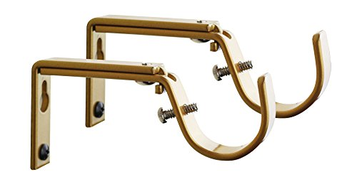 Meriville Set of 2 Gold Curtain Drapery Rod Bracket for 1 1/4-Inch Rod, Adjustable ()