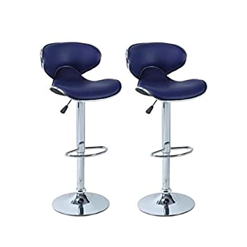 Tabouret De Bar Amazon.York Lot De 2 Tabourets De Bar Reglables Simili Bleu Marine Contemporain L 51 X P 50 Cm