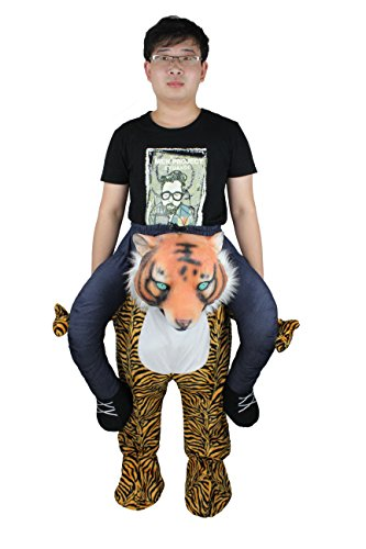 COMLZD Shoulder Carry Me Piggy Back Ride On Mascot Costume Tiger Animal Carry Me Fancy Dress Adult Xmas Gift ()