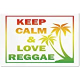 Large Wall Mural Sticker [ Rasta,Keep Calm and Love Reggae Quote in Ombre Rainbow Colors Music Themed Decorative,Light Green Red and Yellow ] Self-adhesive Vinyl Wallpaper / Removable Modern Decoratin