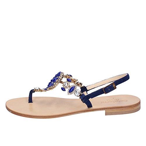 Calpierre Sandali Pelle Blu Scamosciata Donna r7r0wCYq