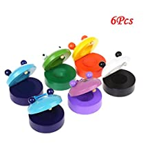 6 pcs Cute Animal Character Rhythm Instruments Puppy Castanet Baby Play Toy Music Play Set Educational Wooden Toy Castanets