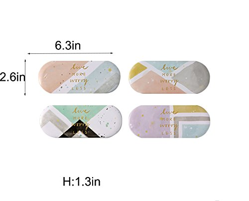 Set of 4 CHOOLD Cute Geometry Pattern Mental Portable Eyeglasses Case Box Holder Container with Soft Flocked Lining