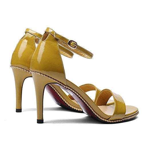 boda cuero Regalo Sandalia de Tamaño alto de de 5cm tacón ZJM Color Zapatos mujer de alto Amarillo Zapatos tacón cuero Sandalia 35 Tacón Amarillo de Oficinista de vIYwcTSqH