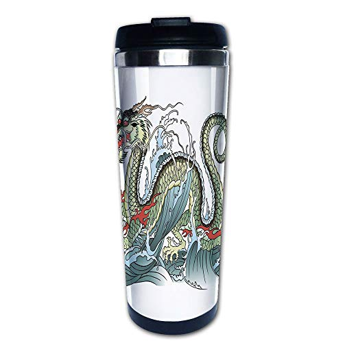 Stainless Steel Insulated Coffee Travel Mug,Water Dragon Splashing Waves Legend Creature,Pale,Spill Proof Flip Lid Insulated Coffee cup Keeps Hot or Cold 13.6oz(400 ml) Customizable printing