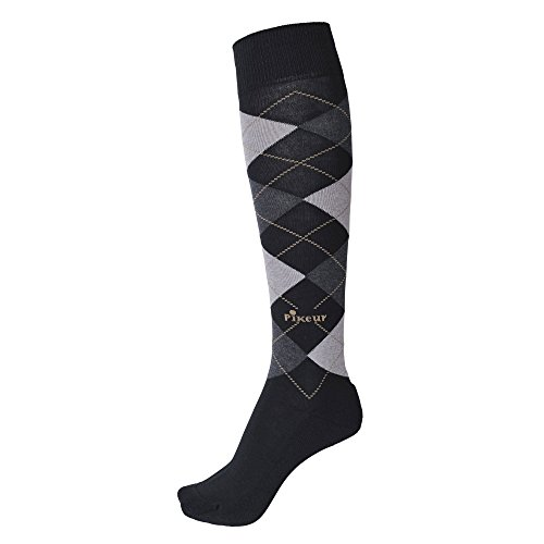 Pikeur Ladies Equestrian Horse Riding Knee Length Comfortable Check Socks navy/blue mel./aquamarine mel./grey xdxUJ