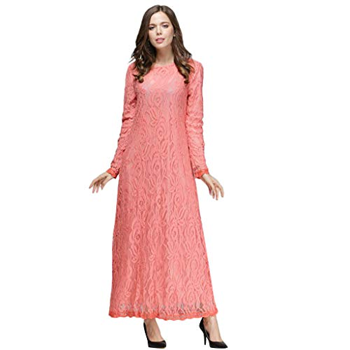 Double Layer Frocks (Tootu Women Dress Slimming Long Dress Lady Lace Double Layer Long Muslim)