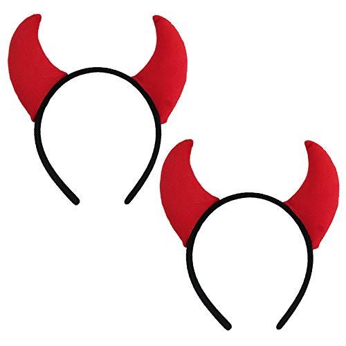 Halloween Devil Headband Devil Horns Headbands Hair Band Red Devils Ears Headpiece Women Girls Devil Hairband Hair Hoop Party Decoration Cosplay Costume Headwear Cute Handmade Hair Accessories 2 Pack