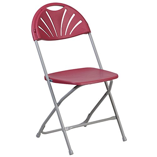 Burgundy Plastic Folding Chair (Flash Furniture HERCULES Series 800 lb. Capacity Burgundy Plastic Fan Back Folding Chair)