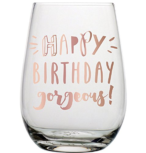 Slant Collections 20 oz Stemless Wine Glass: Happy Birthday Gorgeous