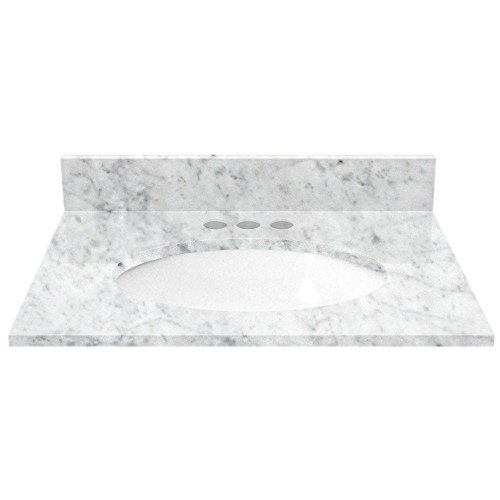 White Carrara Marble 25 In. Vanity Top with White Basin