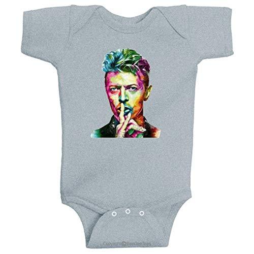 BeeGeeTees David Bowie Baby Ziggy Pop Stardust Infant Bodysuit for Babies Baby Romper (12 Months, Gray)