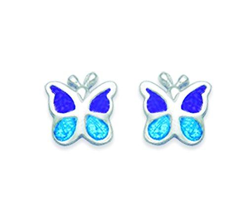 Coffret cadeau boucles d'oreilles clous papillon en argent sterling émail bleu taille: 6mm
