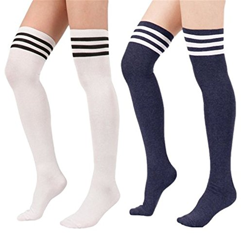 Spring fever Womens Cotton Vertical Stripe Tube Over Knee Thigh High Stockings 2 Pairs White w Navy - Mens Fishnet Shorts Leather