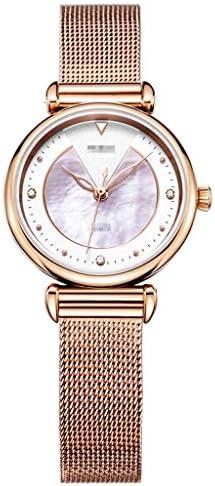 女性のファッションウォッチシェルフラワーフェイスステンレスカジュアルウォッチミラネーゼメッシュバンド、防水カジュアルアナログクォーツ腕時計 (色 : ローズゴールド)
