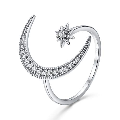 Angol Crescent Moon Star Adjustable Ring, 925 Sterling Silver Crescent Moon Ring Cubic Zirconia Opening Ring Gift for Women with Gift Bag