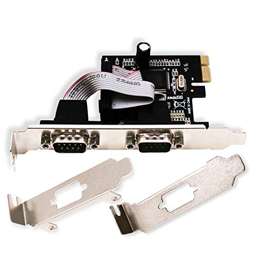 LinksTek 2 Port PCI Express Serial/RS-232/DB9/COM Port Card Adapter with 16C550 UART for Windows CE,XP,Vista,7,8.0,8.1,10(32/64bit) and Linux Systems-PCIE Serial Port Card(PCIE-SE2)