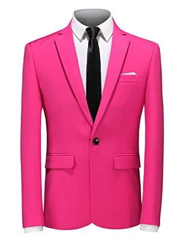 - MOGU Mens Fashion One Button Slim Fit Pink Blazer US Size 40 (Label Asian Size 4XL) Pink